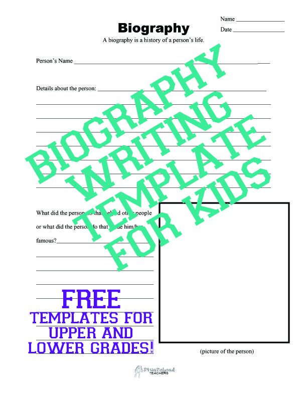 Biography Writing Template for Kids Teaching Fun! Pinterest - biography template