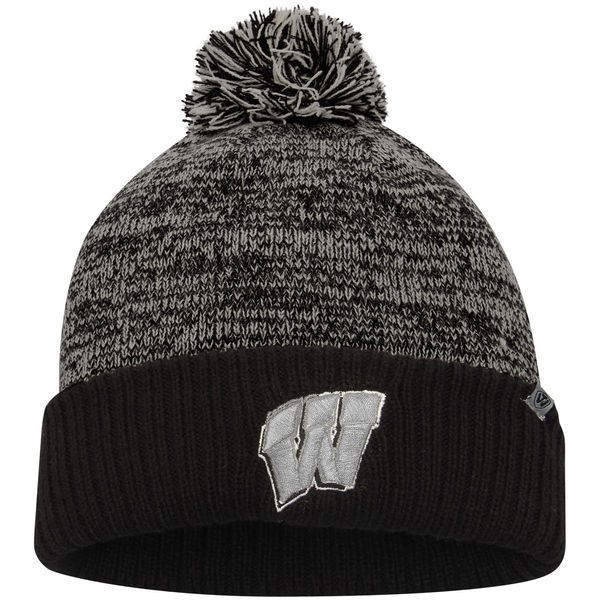 Wisconsin Badgers Top of the World Dense Cuffed Pom Knit Hat - Charcoal/Black