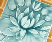 Waterlily - Handmade Ceramic Tile - Victorian style turquoise crackle glaze - for kitchen, bath, fireplace decor via lesperancetile on etsy.com