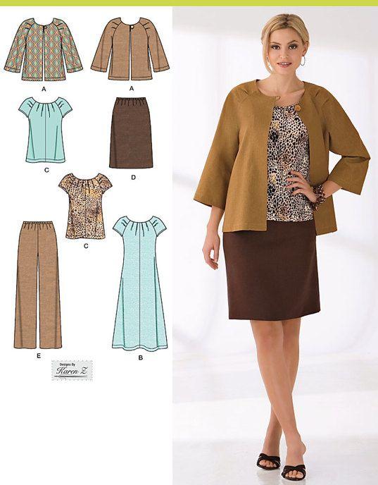PLUS SIZE Womens Wardrobe Sewing Pattern - Dress Top Pants Skirt ...