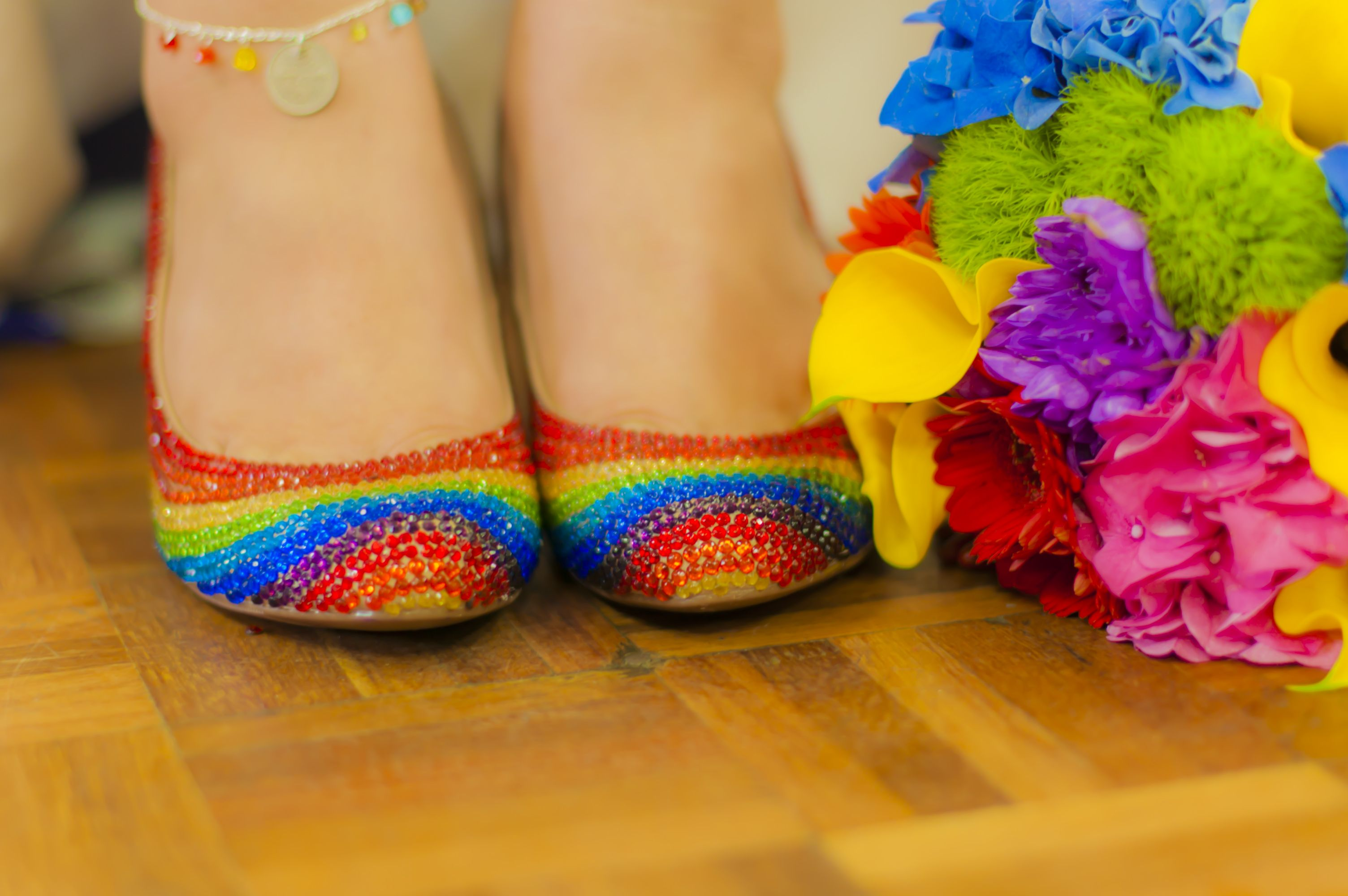 Handmade Rainbow Coloured Gem Wedding Shoes And Events Photography By Carly Marie Reportage