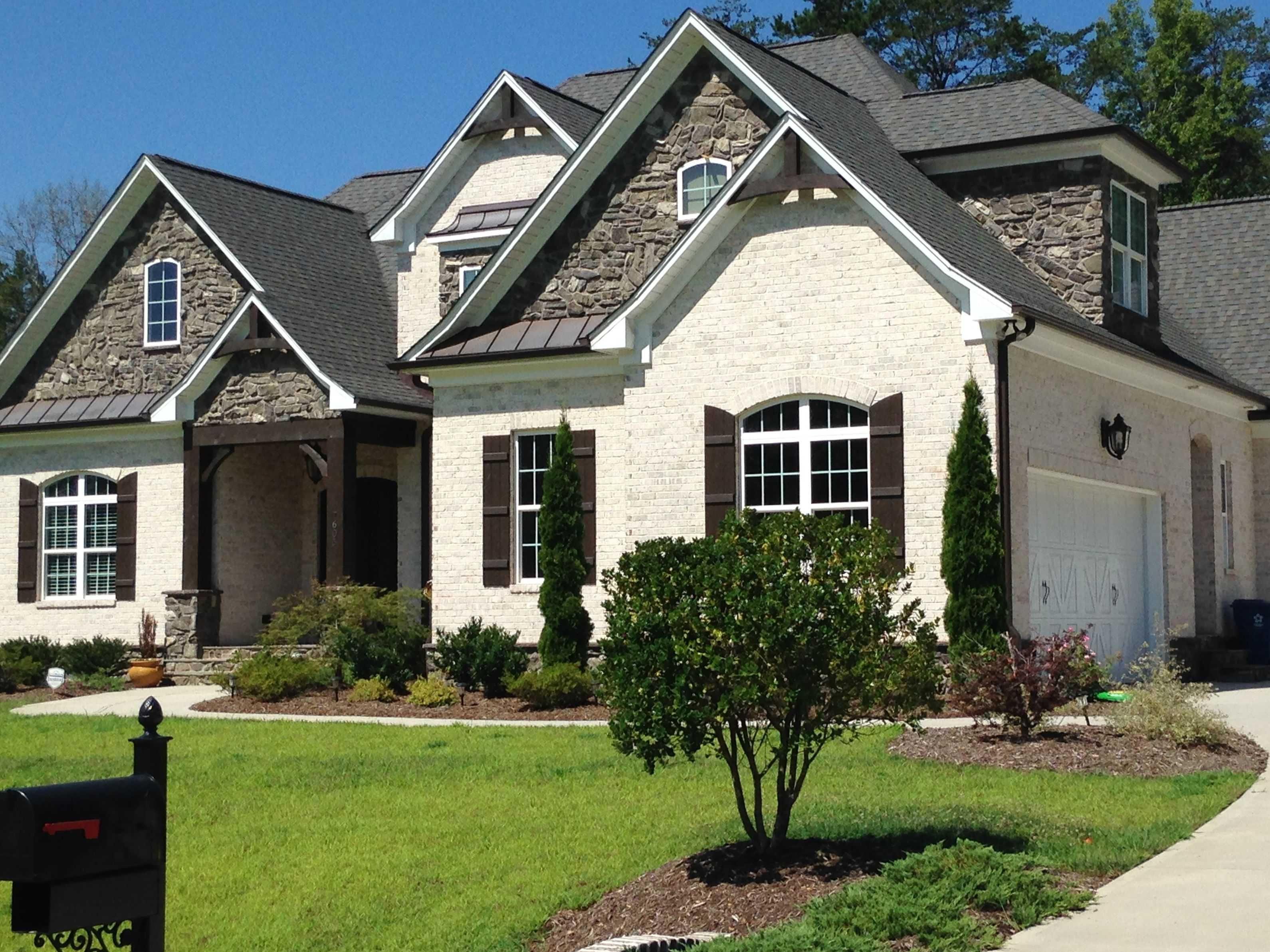 White Craftsman House With Brick Fresh White Brick Options Chesapeake Pearl Here With Gray Roof Stone Brick Exterior House White Brick Houses Exterior Brick