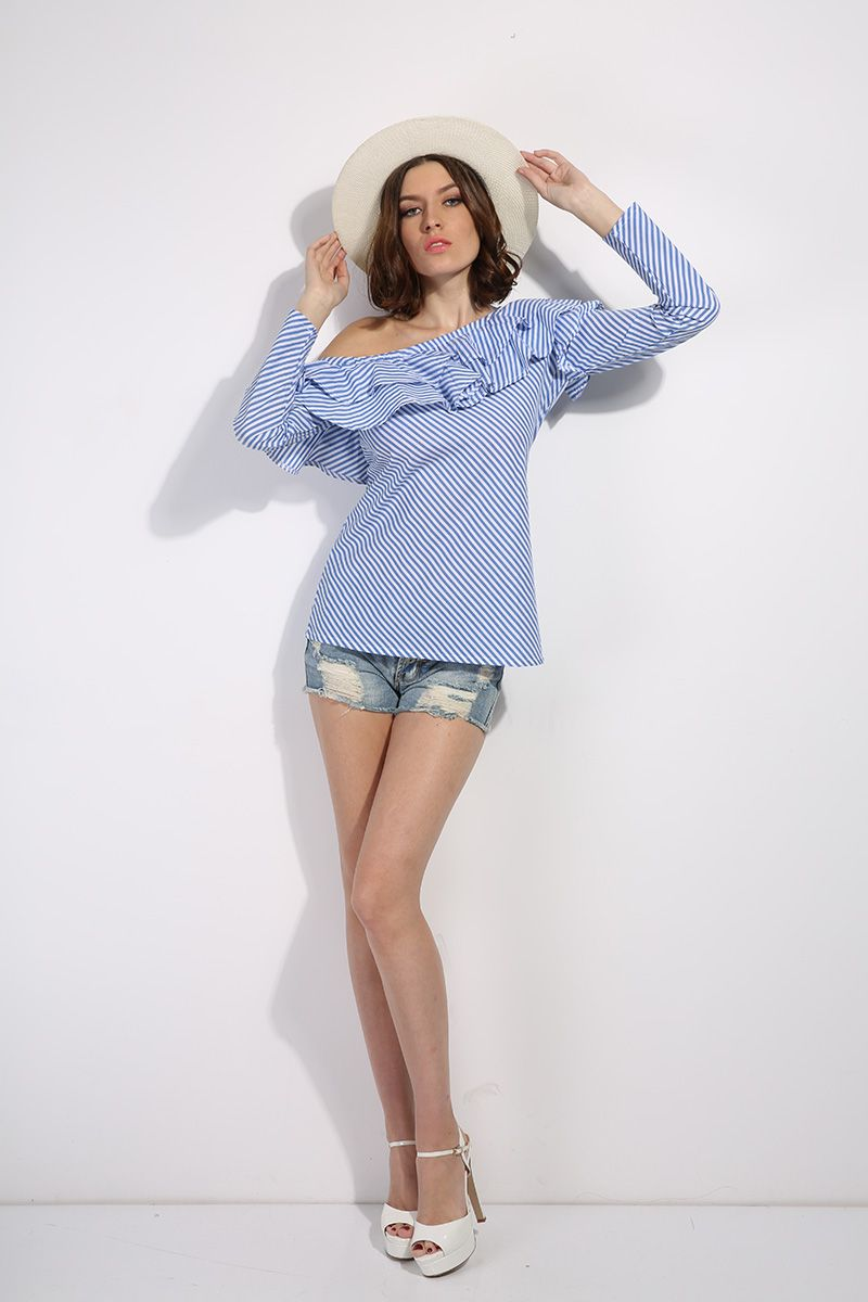 399cac559b231 CHURSES One shoulder ruffles blouse shirt women tops 2017 autumn Casual  blue striped shirt Long sleeve cool blouse winter blusas