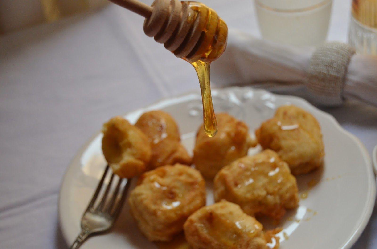 Plátanos fritos con miel de caña