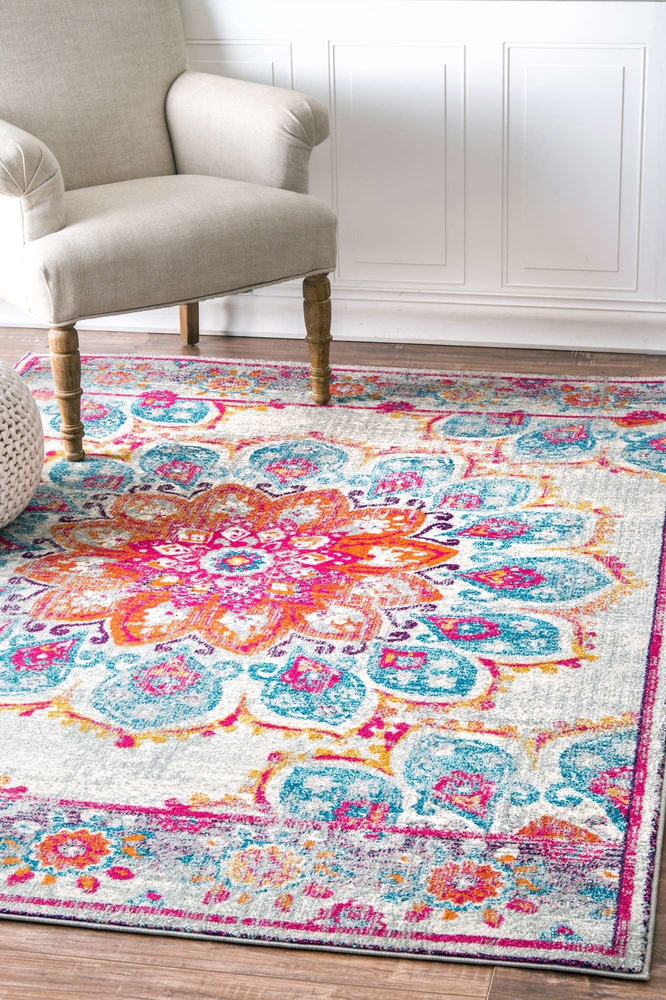 Wellston Power Loom Polypropylene Indoor Orange Pink Purple Cerulean Blue Gray Mustard Yellow Off White Area Rug Turquoise Rug Floral Area Rugs Area Rugs