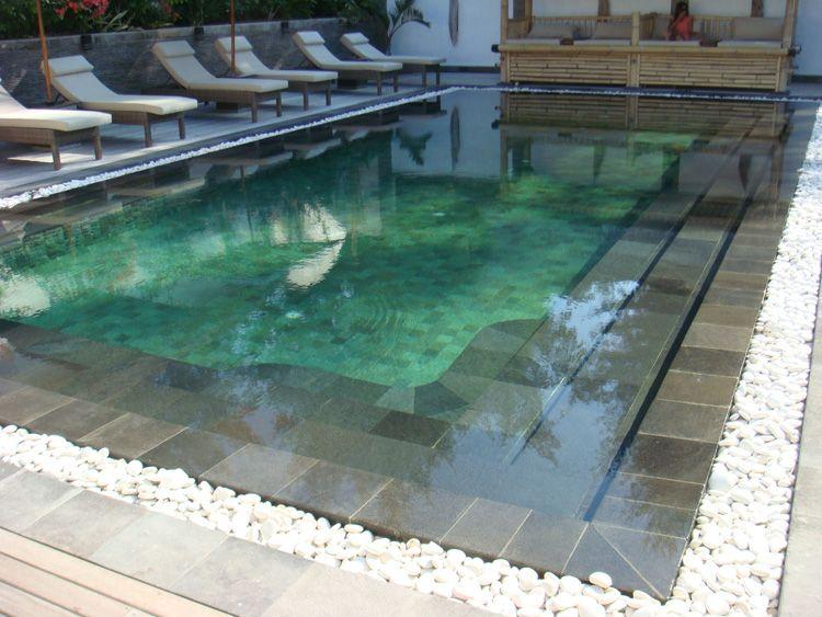 Black andesite swimming pool edging for Pool garden edging