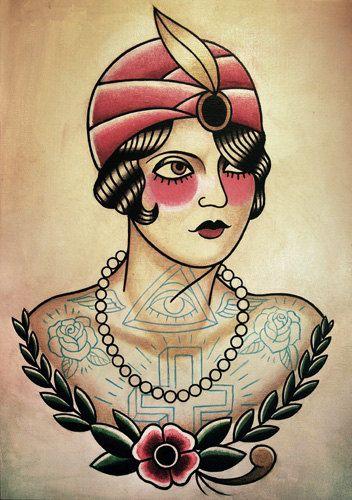 Woman Neo Traditional Tattoo Flash