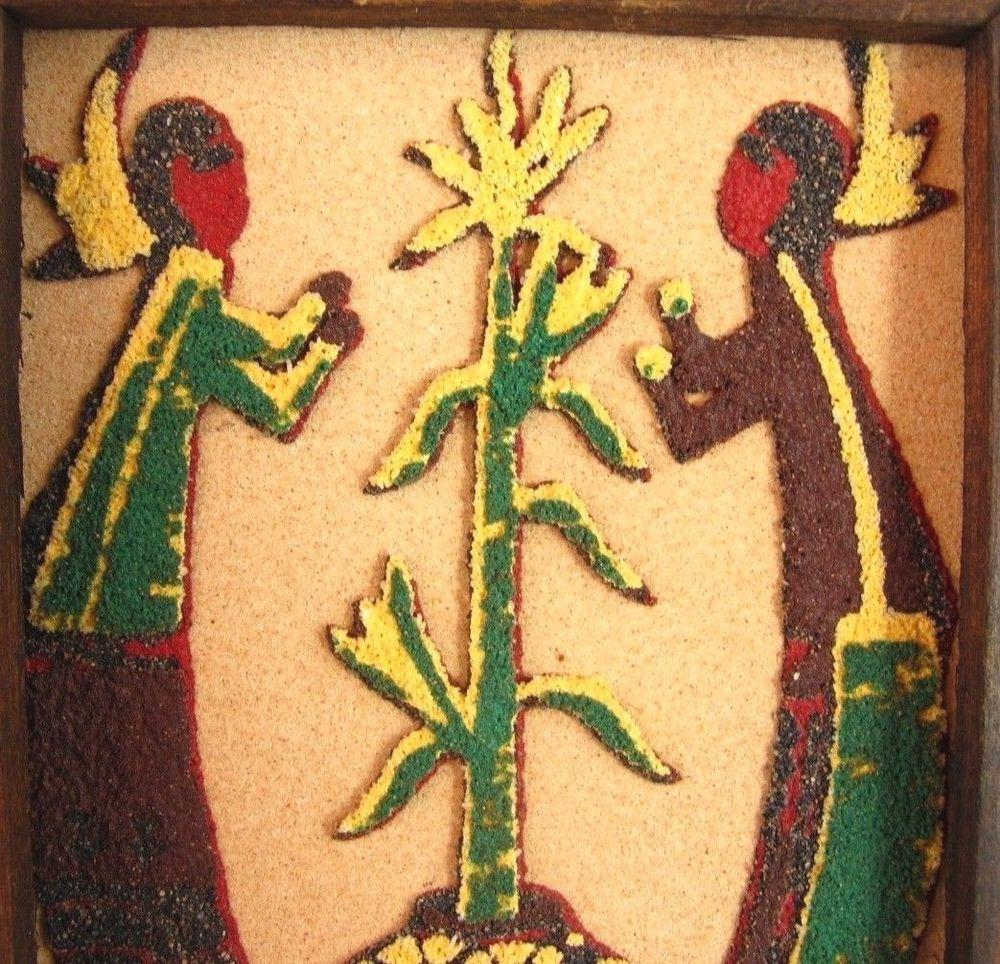 Corn maidens sand art framed picture 4x5 harvest spirit