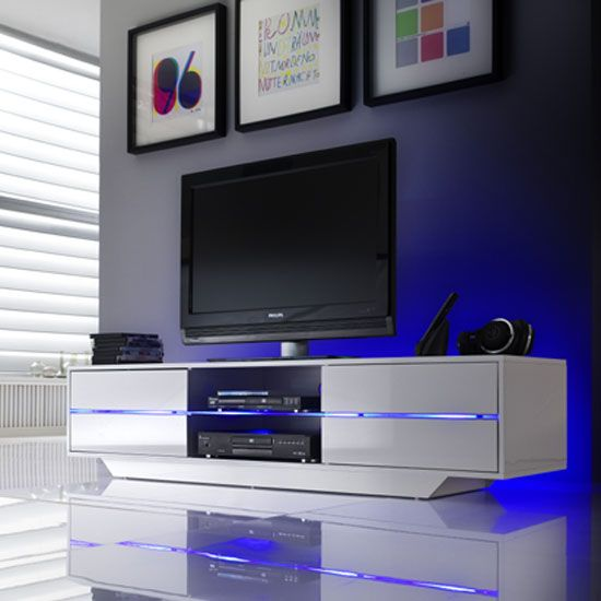 A stunning tv stand with a gloss white 4 drawers with for Stylish tv stands furniture