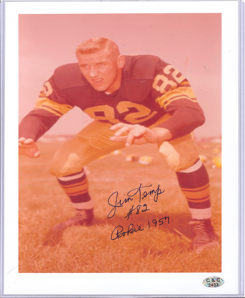 JIM TEMP GREEN BAY PACKERS HAND SIGNED AUTOGRAPH 8X10 PHOTO