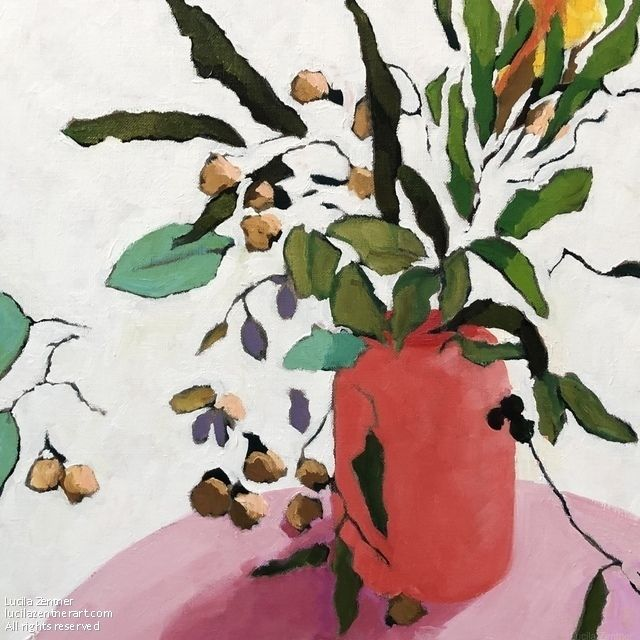 Gums and flowers at my house 2A by LUCILA Zentner, Oil in