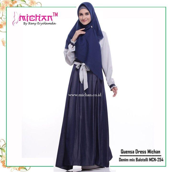 Gamis Michan Quensa Dress MCN 254 - baju muslim wanita baju muslimah Untukmu yang cantik syari dan trendy . . -Saku 2 depan (kanan-kiri) -Lingkar bawah kurleb 28m -Bahan : Denim Chambray mix Balotelli -Resleting depan busui friendly -Lengan manset dengan kancing Bungkus -Tali pinggang nempel yang bisa diikat kedepan atau belakang . . Size chart: XS: LD 92cm PB 130cm S: LD 94cm PB 135cm M: LD 96cm PB 138cm L: LD 100cm PB 140cm XL: LD 108cm PB 142cm . . Ready size S M Harga Rp 200.000 (gamis…