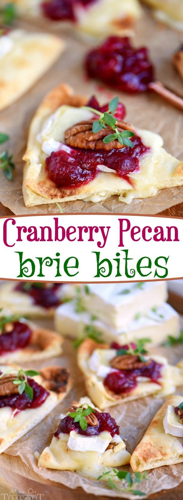 These Cranberry Pecan Brie Bites are perfect for holiday entertaining! Whether you make them for Thanksgiving, Christmas, or New Year's, no one will be able to resist the gooey melted brie, tart cranberry sauce, and toasted pecan atop a piece of naan! Easy and fabulous - just what holiday entertaining should be! // Mom On Timeout #brie #appetizer #recipe #cranberry #cranberries #holiday #entertaining