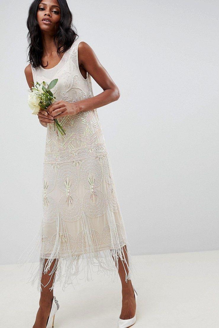 Fringe Embellished Art Deco Wedding Dress Chic Vintage Brides Deco Wedding Dress Midi Wedding Dress Art Deco Wedding Dress [ 1110 x 740 Pixel ]