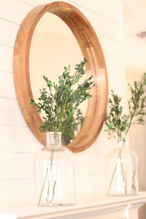 Large Round Natural Wood Wall Mirror | World Market