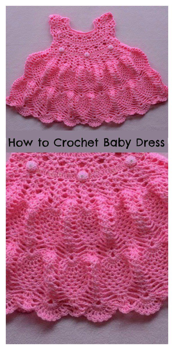 Pineapple Stitch Baby Dress Free Crochet Pattern Baby Dress