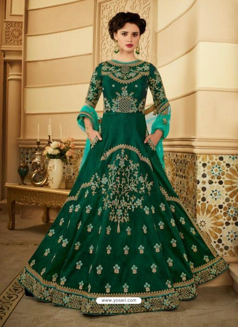 1b24b1e3d3 Dark Green Royal Silk Heavy Embroidered Gown Style Anarkali Suit ...