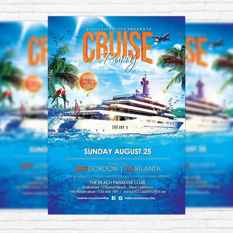 Cruise Party - Premium Flyer Template + Facebook Cover http ...