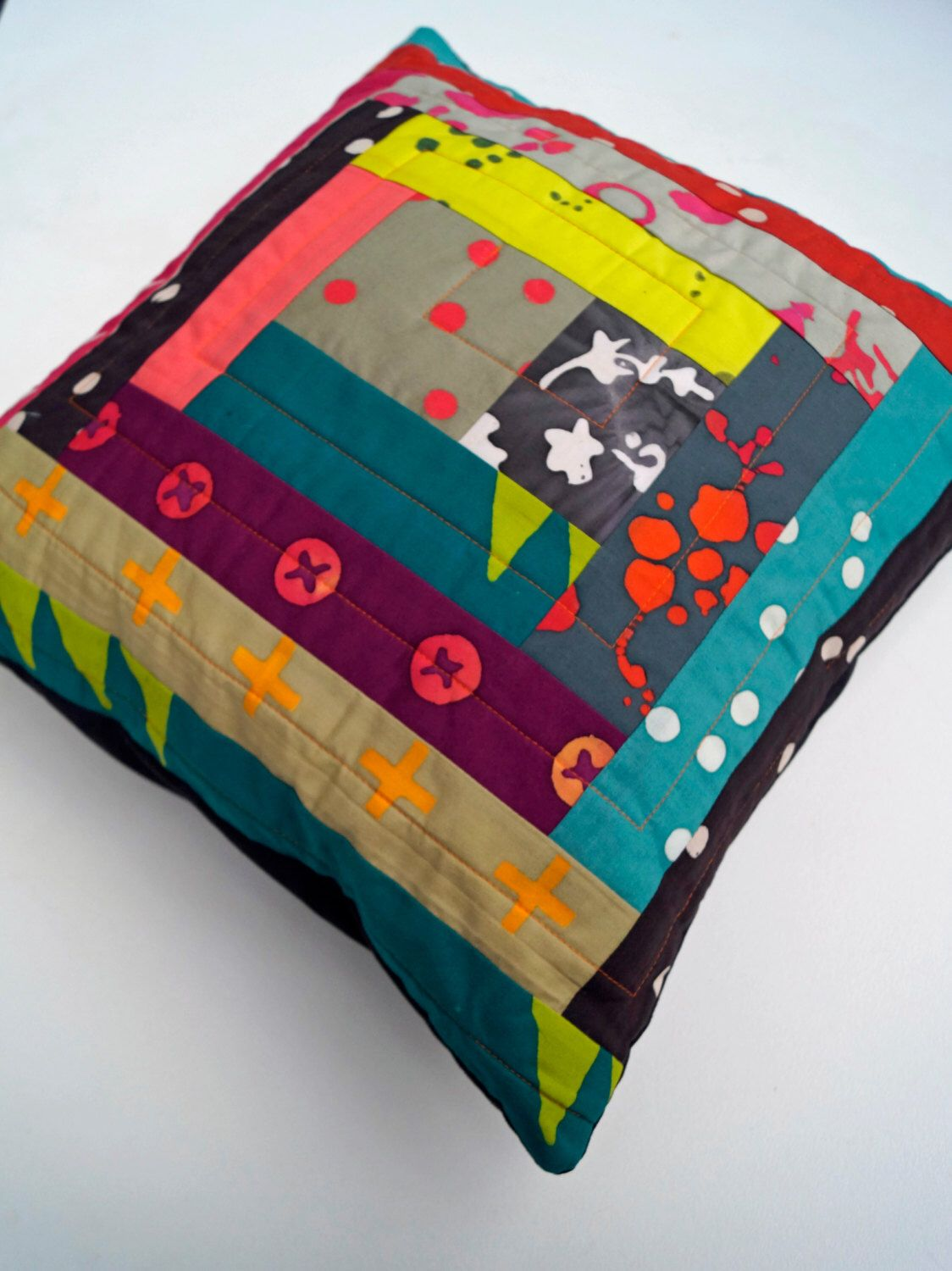 Patchwork Throw Pillow Cover for 14 inch Pillow - COVER ONLY - Quiltsy Handmade by MyBitOfWonder on Etsy https://www.etsy.com/listing/458325536/patchwork-throw-pillow-cover-for-14-inch