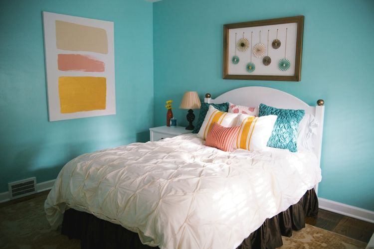 Color block artwork Bedrooms Pinterest Aqua bedrooms, Bedrooms - Orange Bedrooms