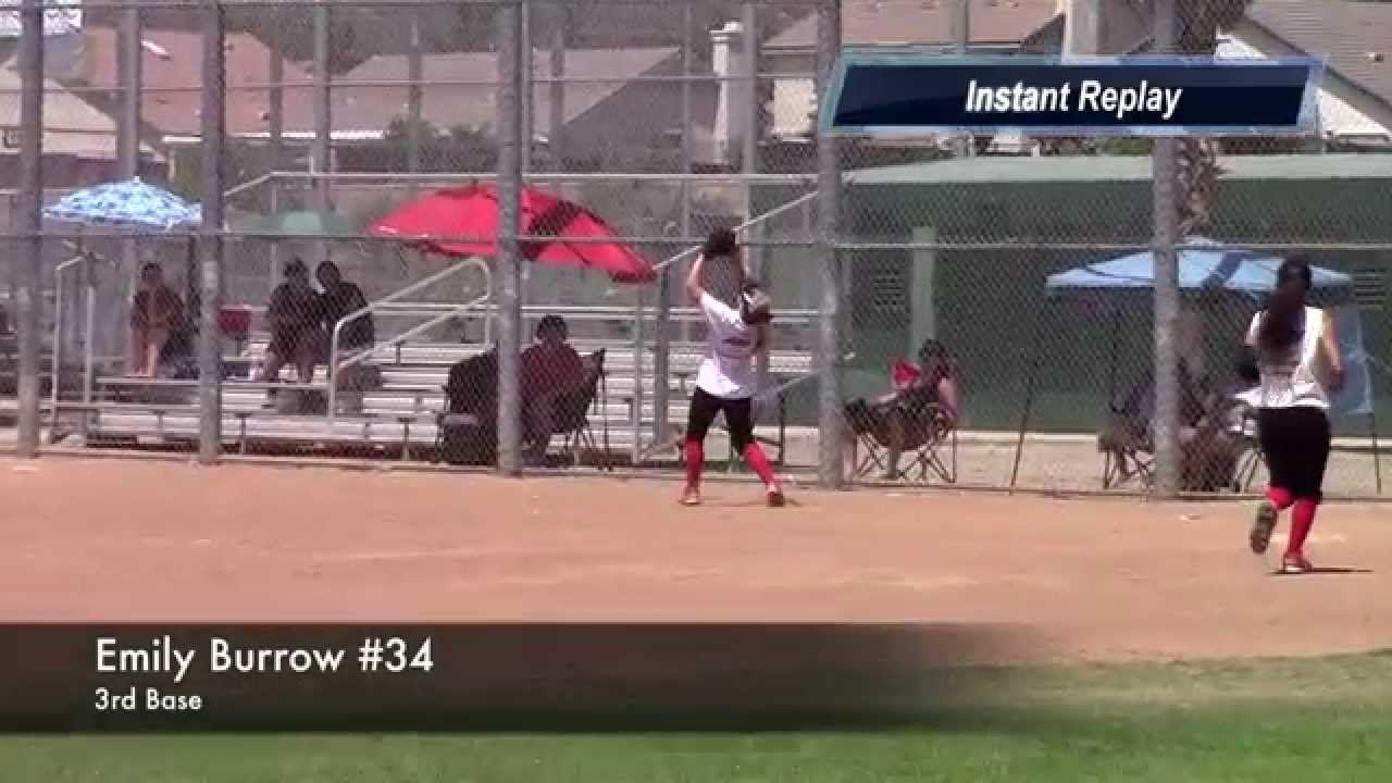 Emily Burrow 3rd Baseman Foul Ball Pop Fly Catch Vs Strike Force Fast Travel Softball Lake Elsinore Softball