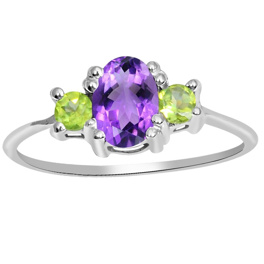 Orchid Jewelry 925 Sterling Silver 0.93 Carat Genuine Amethyst and Peridot 3 Stone Ring (Amethyst and Peridot 3 Stone Ring Size 8), Women's, Green