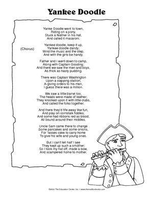 Yankee Doodle Lyrics Preschool Songs American Songs Songs