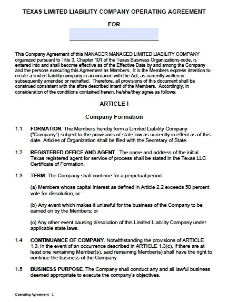 Texas Llc Operating Agreement Template Partnership Sample