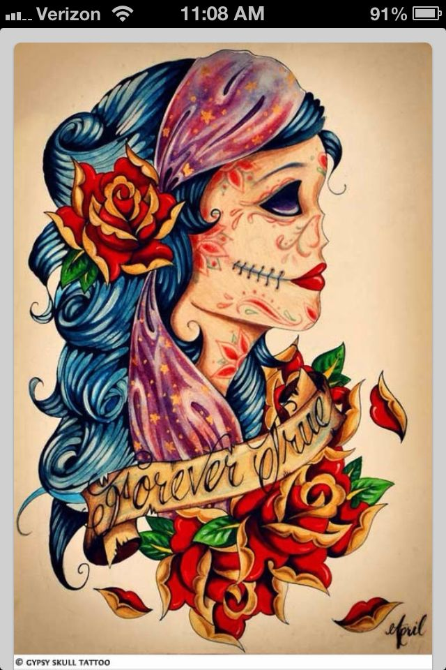 ffb833e92 Gypsy tattoo | Art work | Gypsy tattoo design, Skull tattoos, Sugar ...
