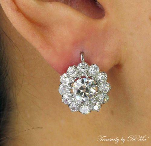 5.13CT ANTIQUE VINTAGE VICTORIAN DIAMOND CLUSTER HANGING DROP EARRINGS EGL USA