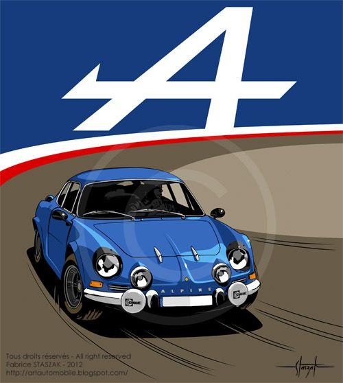 Renault alpine a110 alpine berlinette pinterest - Dessin de aloine ...