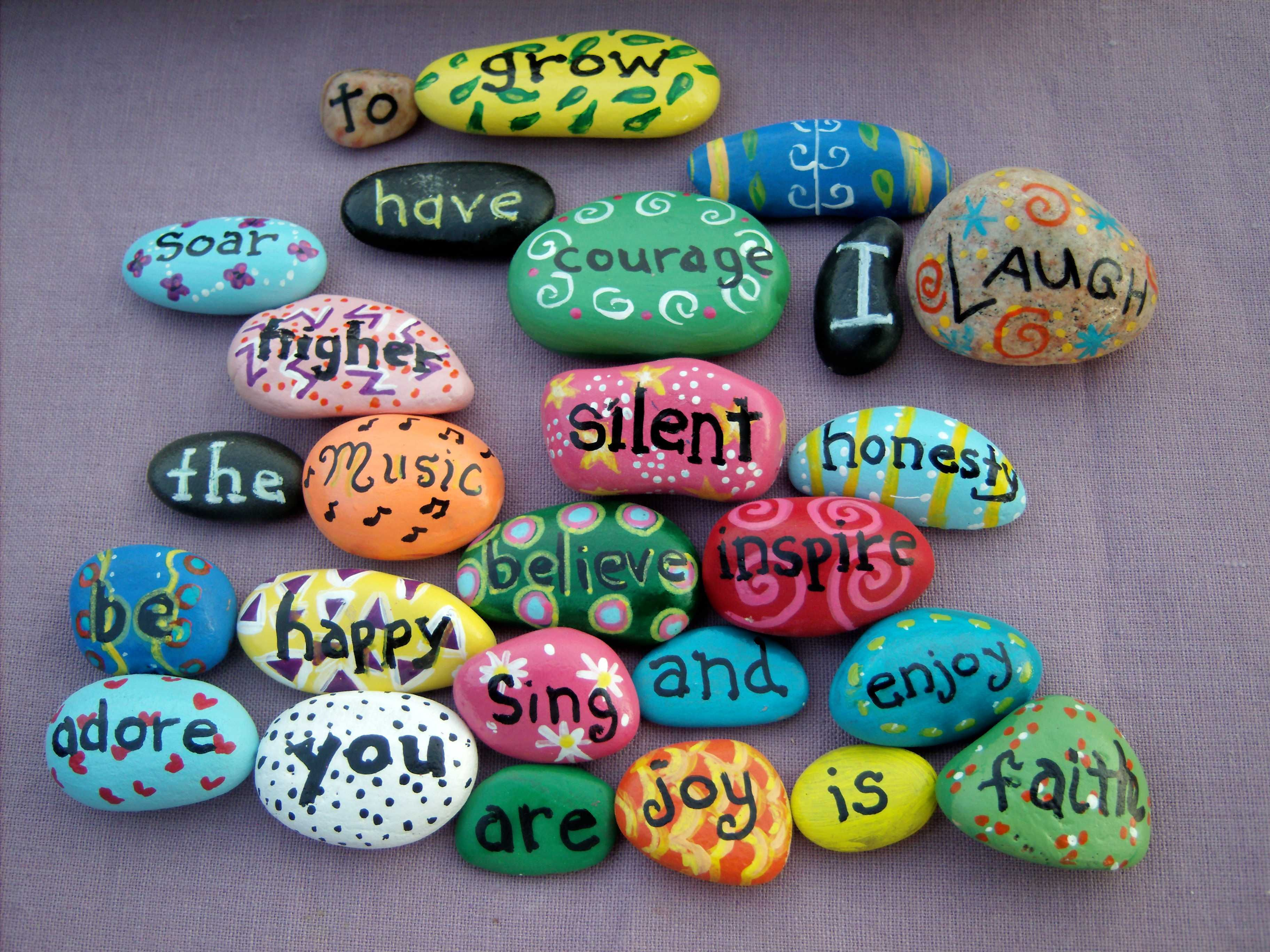 "Uplifting Ideas: My Newest ""inspirational"" Rocks I Painted."