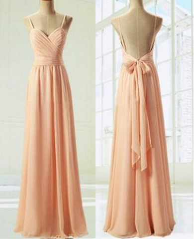 139326846155 Light Pink Straps Simple Prom Dress with Bow. Chiffon Prom Dresses Spaghetti  ...