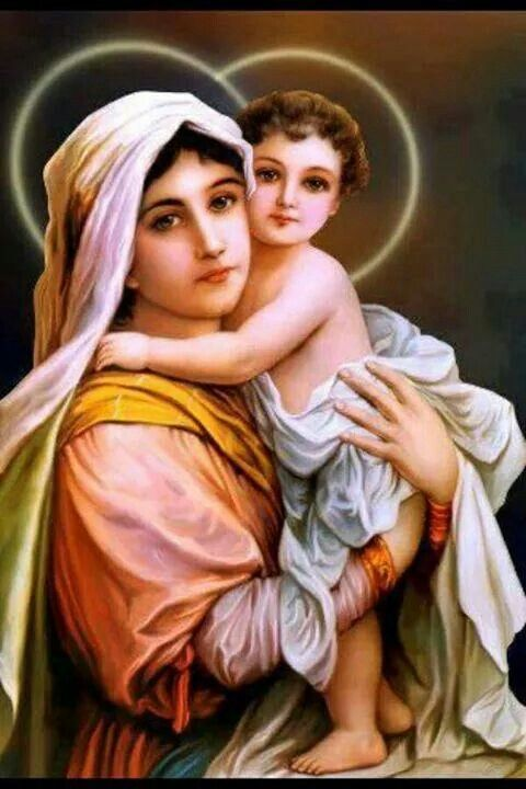 Holy Mary and Jesus child Jesus Mother, Blessed Mother Mary, Blessed Virgin Mary, Mother And Child, Religious Icons, Religious Art, Santa Maria, St Therese, Images Of Mary
