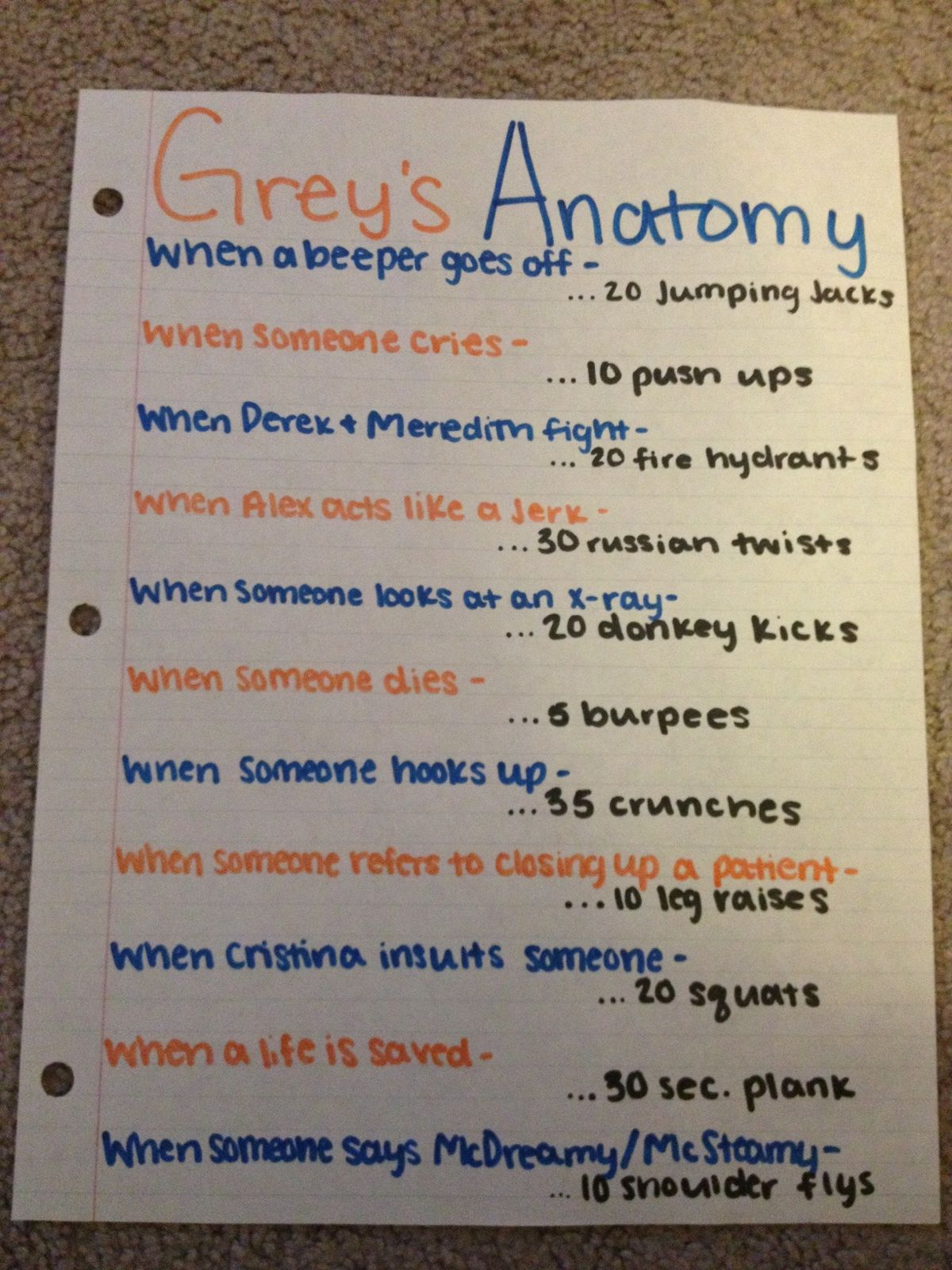 Grey's Anatomy work out....too bad ive already seen every ...