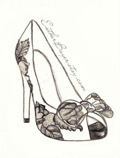 High Heel Shoe Fashion Illustration Original Black  White