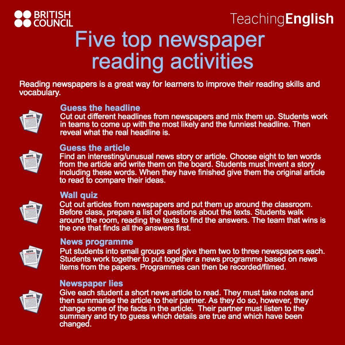 Newspaper Reading Activities Improve Reading Skills Reading Activities Reading Vocabulary How to improve english reading