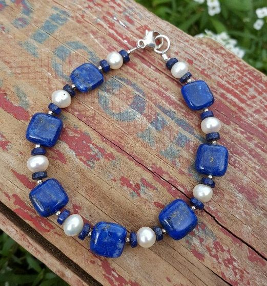 Cuadrado azul Lapis Lazuli pulsera con perlas de por KarensKarats