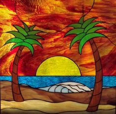 Ocean Or Beach Stained Glass Pattern With Sunset Google