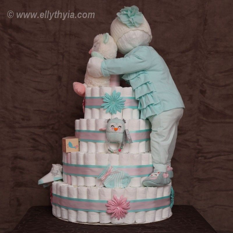How To Make Baby Shower Diaper Cake: Teal Owl And Baby Girl Diaper Cake