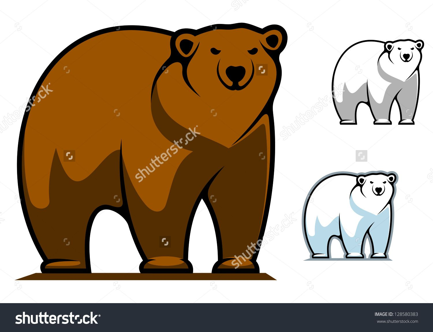Funny Cartoon Bear For Mascot Or Tattoo Design Such As