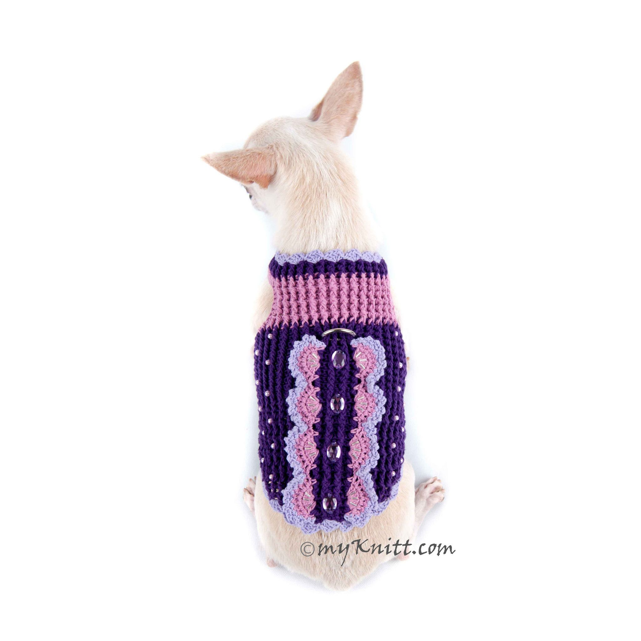 Butterfly Dog Harness Purple Summer Dog Clothes DK907 #chihuahua #knitwear #summer #myknitt #crochet #DIY