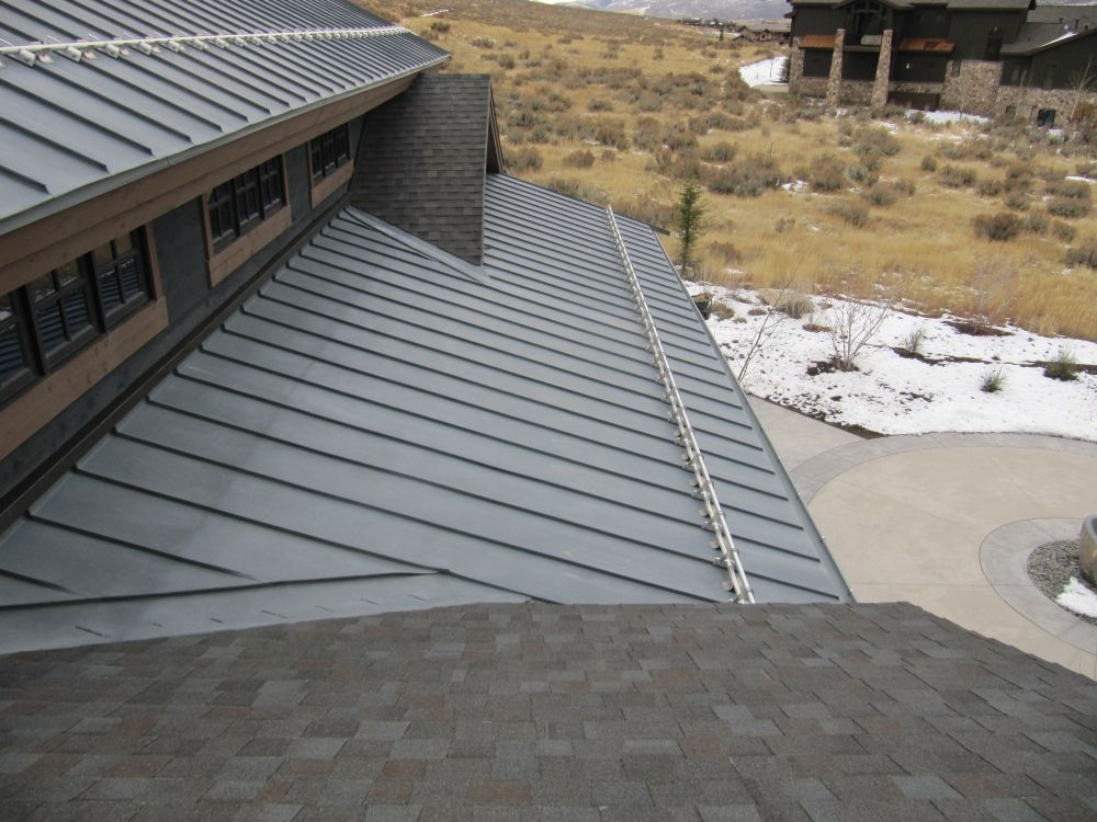 Double Locked Standing Seam Zinc Roof With Stainless Steel Snow Guard System Zinc Roof Standing Seam Portico Design