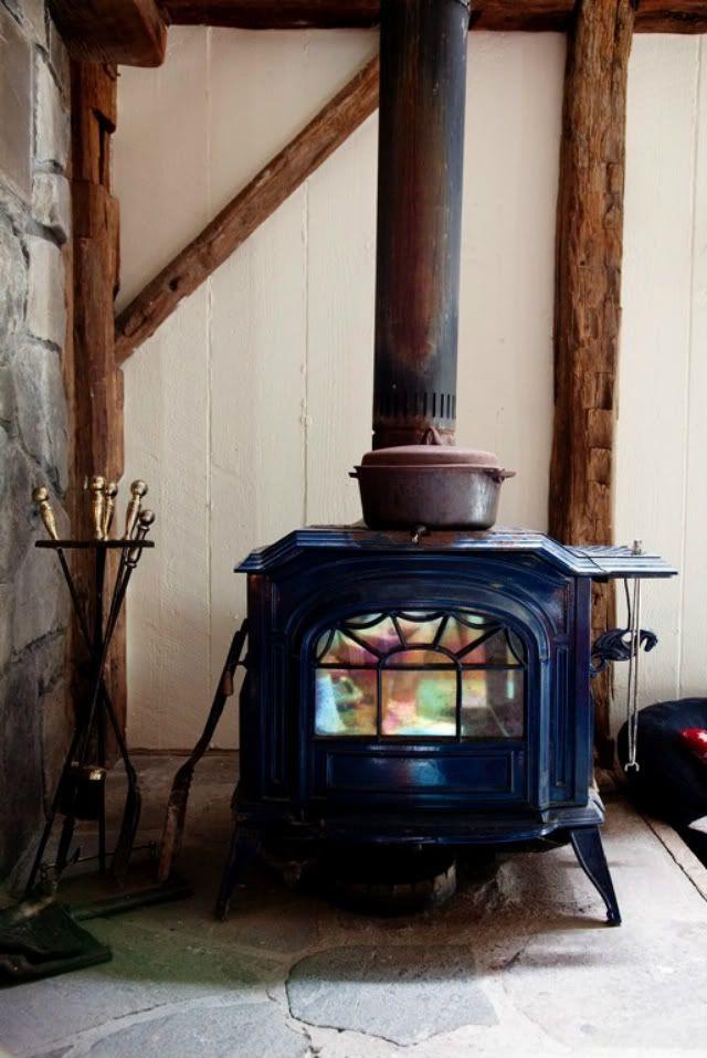 wood stove, like the wood beams
