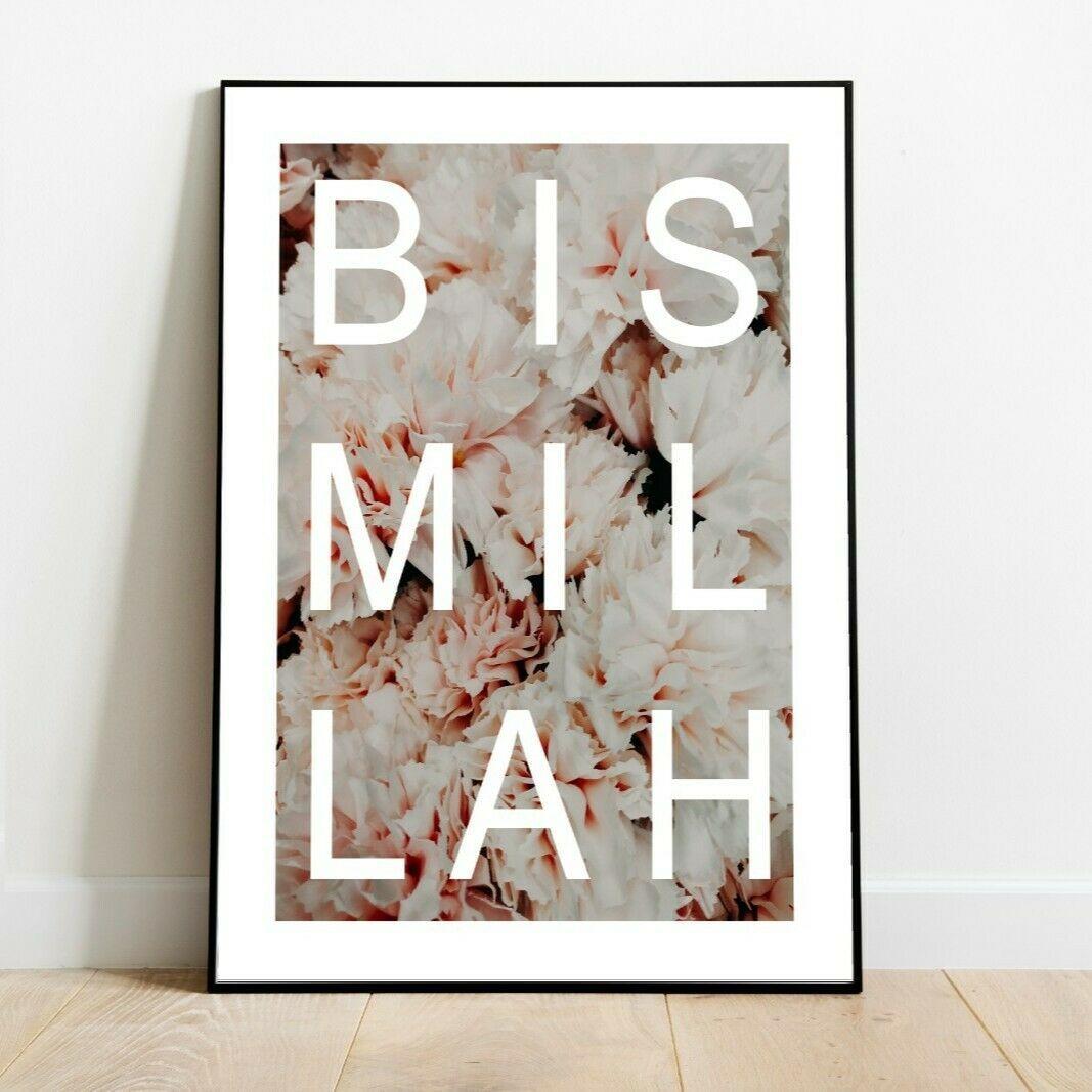 Bismillah Kunstdruck Rose Poster Deko Bild Home Islam Typografie