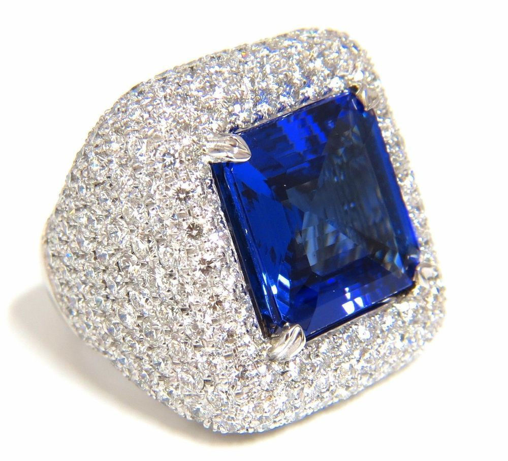 Blue Sapphire Cocktail Ring Pave Diamond 925 Sterling Silver Handmade Jewelry