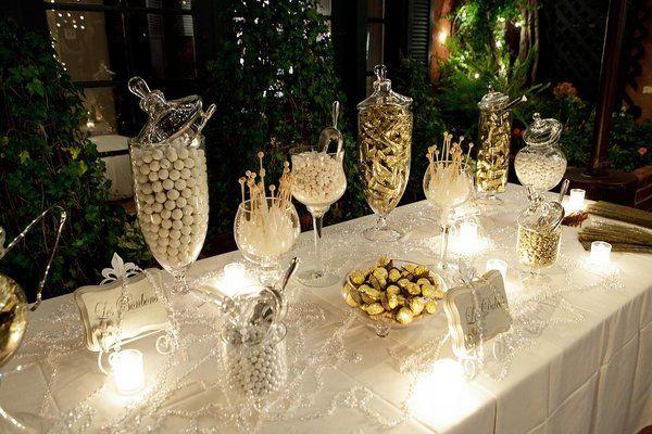Elegant dessert table on pinterest dessert tables white dessert - Photo Via Garlands Gold Candy And Buffet
