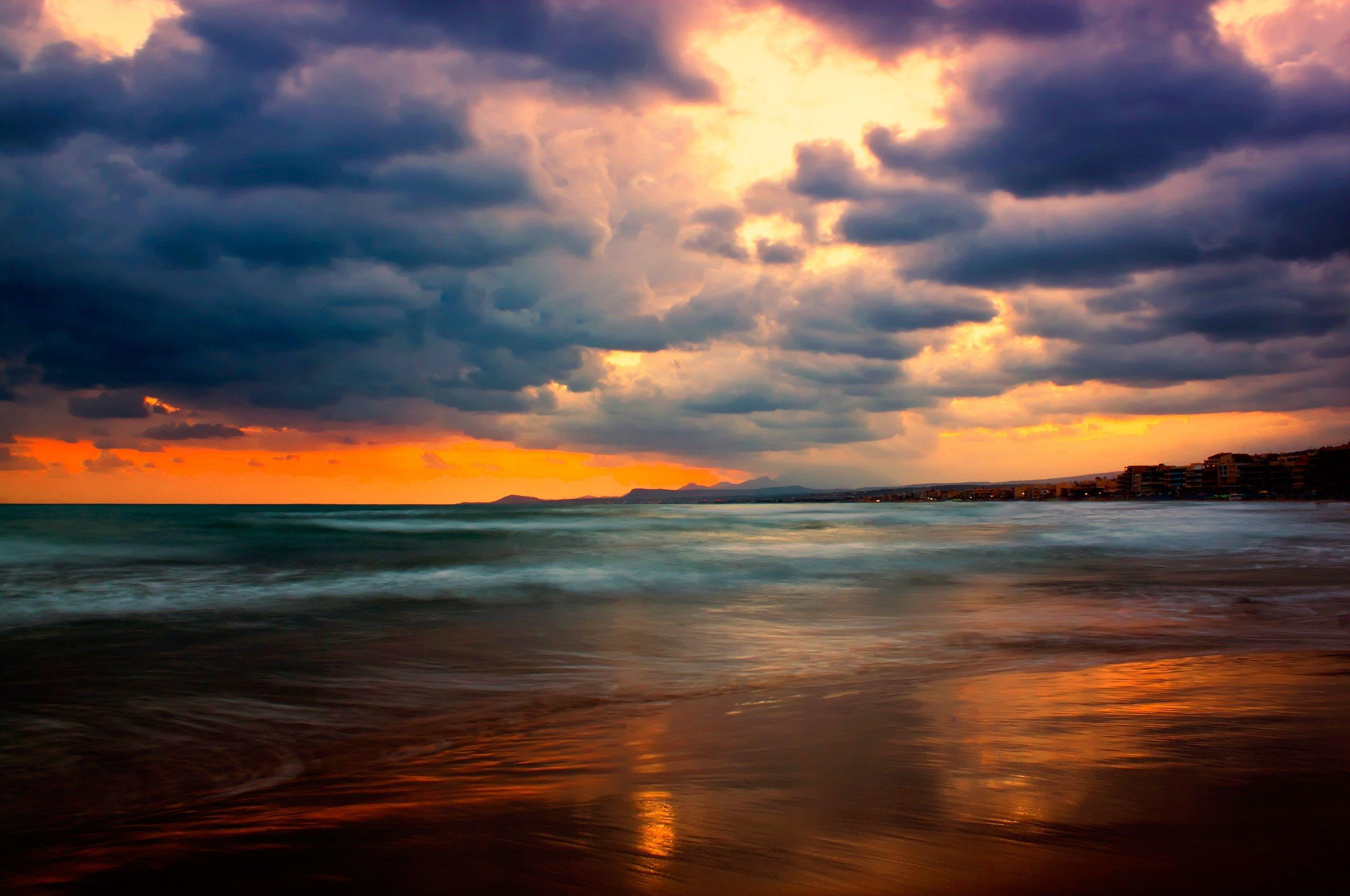 Background High Resolution Hdr Sunset Landscape Beach Nature Beach Sunset Wallpaper
