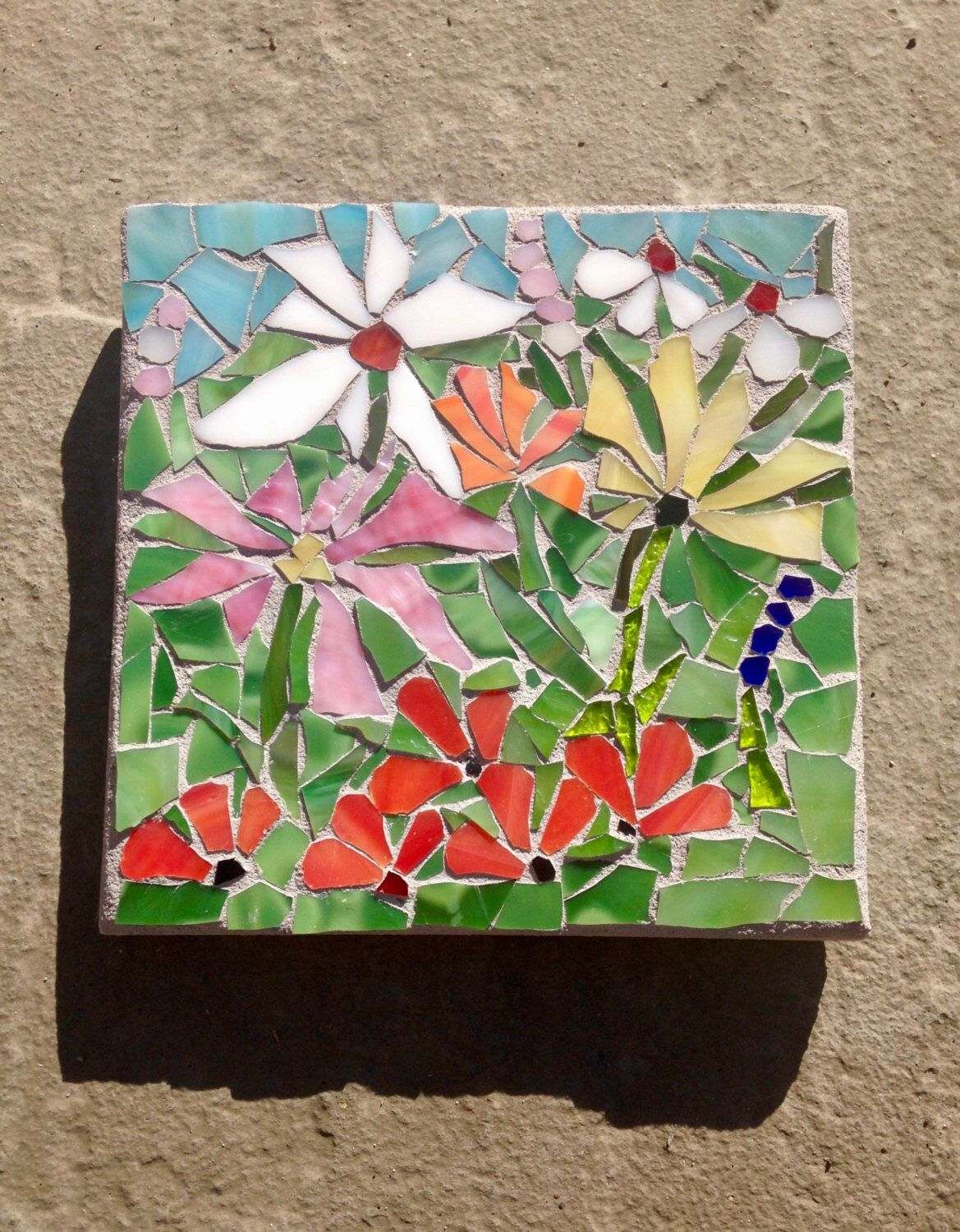Stained Glass Mosaic Wall Art Sale Nature Flower Art Flower Wall Art Home Decor Mosaic Mosaics Glass Art Garden Mosaic Flowers Floral Mosaic Mosaic Art