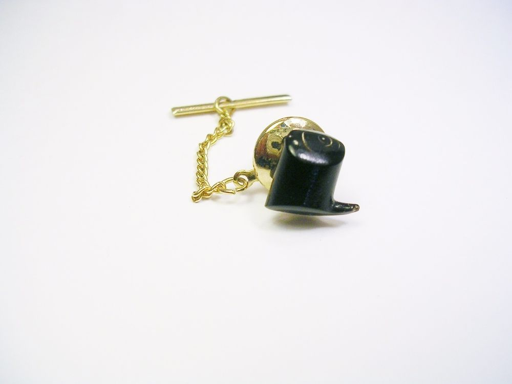 Wedding Tie Tack Tie Tack with Chain Black and Gold Tie Tack with Rhinestone Formal Tie Tack